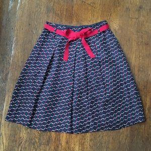 Talbots Petite Red White & Blue Pattern Silk Skirt